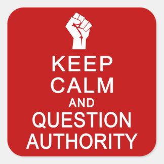 平静及び質問権限のステッカーを保って下さい スクエアシール