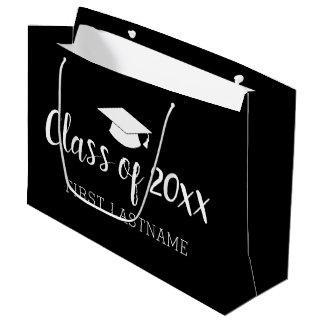 年および名前のクラス-黒は色を変えることができます ラージペーパーバッグ
