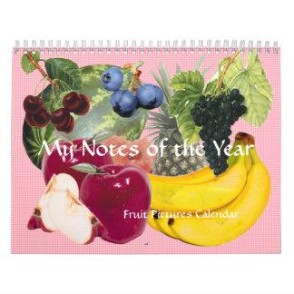 年のフルーツのカレンダーのノート カレンダー