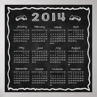 年の2014年の黒板のカレンダー ポスター