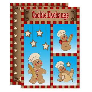 年次クッキー交換ジンジャーブレッドの招待状 カード