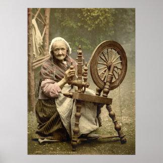 年配の紡績工 ポスター