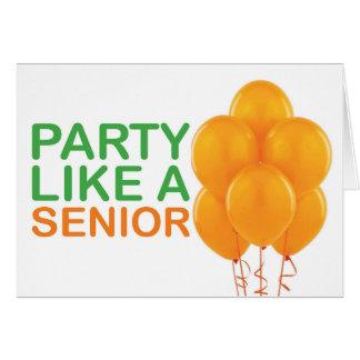 年長のバースデー・カードのようなパーティー(オレンジ) カード