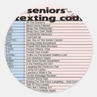 年長のメールや文字を打つコード ラウンドシール