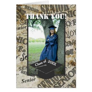 年長の写真の卒業の帽子の卒業は感謝していしています カード