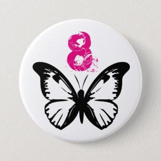 年齢8.のための白黒蝶ボタン 7.6CM 丸型バッジ