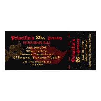 年齢、第26の招待状のチケットのstyl、誕生日の女性 10.2 x 23.5 インビテーションカード