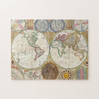 年1789のアンティークは世界地図のパズルを着色しました ジグソーパズル