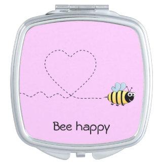 幸せでかわいい蜂の漫画のしゃれのピンク