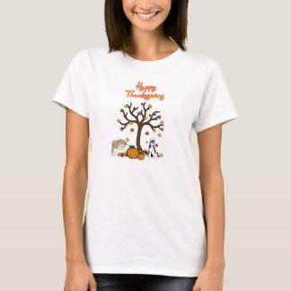 幸せでハスキーな感謝祭のTシャツ Tシャツ