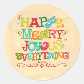 幸せでメリーな嬉しいすべて円形の休日 ラウンドシール