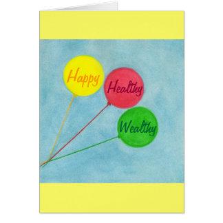 幸せで健康で豊かな気球の断言カード カード