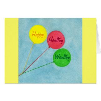 幸せで健康で豊かな気球の断言 カード