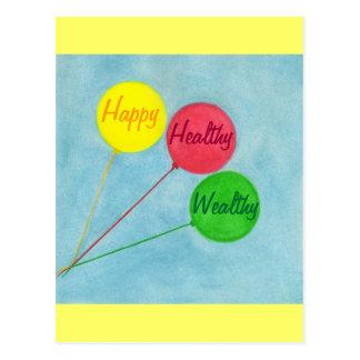 幸せで健康で豊かな気球の断言 ポストカード