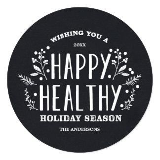 幸せで健康な休日|の休日の写真カード 13.3 スクエアインビテーションカード