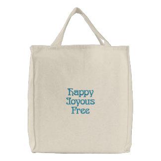 幸せで嬉しい自由に刺繍されたバッグ 刺繍入りトートバッグ