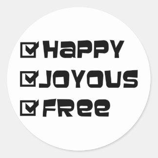 幸せで嬉しい自由 ラウンドシール