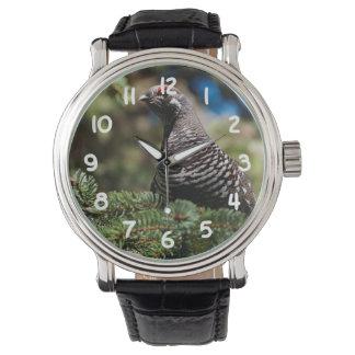 幸せで小ぎれいなライチョウ 腕時計