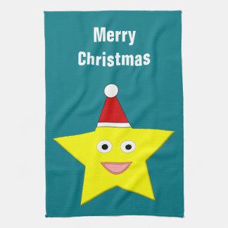 幸せで小さいクリスマスの星のカスタムな台所タオル キッチンタオル
