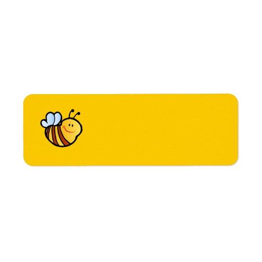 幸せで小さい《昆虫》マルハナバチの蜂の漫画のかわいい蜂蜜INSE 返信用宛名ラベル