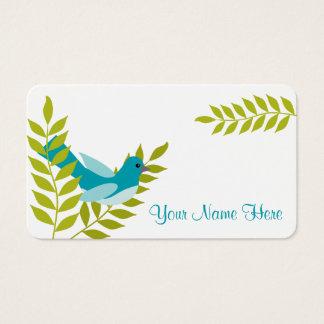 幸せで小さく青い鳥及び緑の葉のテレホンカード 名刺
