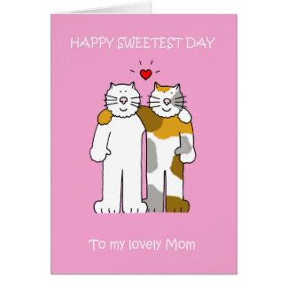 幸せで最も甘い日のお母さんのかわいい猫 グリーティングカード