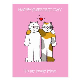 幸せで最も甘い日のお母さんのかわいい猫 ポストカード