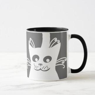 幸せで白い猫 マグカップ