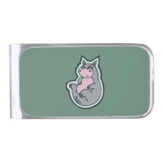 幸せで若い灰色のカバのティール(緑がかった色)のスケッチのデザイン 銀色 マネークリップ