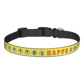 幸せで黄色いスマイリーフェイス ペット首輪