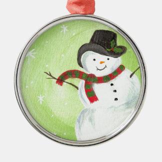 幸せで、幸せな雪だるま シルバーカラー丸型オーナメント