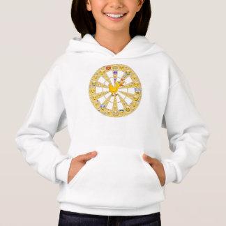 幸せなにせ医者のスマイリーの車輪との女の子のフード付きスウェットシャツ