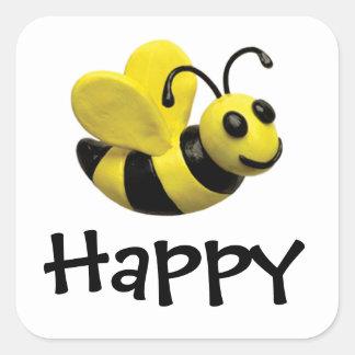 幸せなのまわりにの誕生会の蜂 スクエアシール