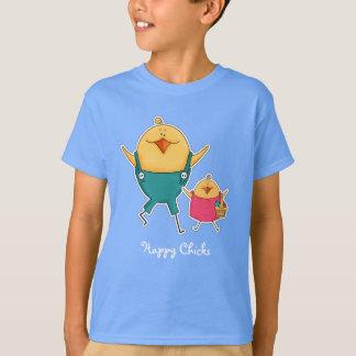 幸せなひよこ。 イースターギフトの子供のTシャツ Tシャツ
