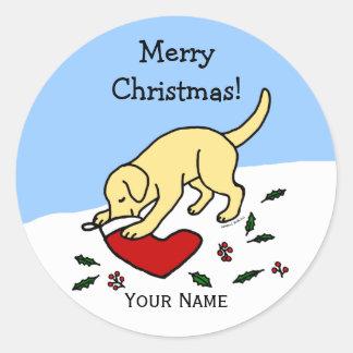 幸せなイエロー・ラブラドール・レトリーバーのクリスマスの漫画のステッカー ラウンドシール