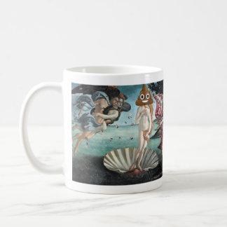幸せなウンチが付いている金星の誕生(左利きの) コーヒーマグカップ