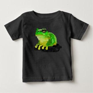 幸せなカエルの赤ん坊のTシャツ(黒) ベビーTシャツ