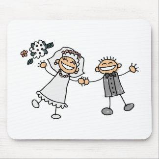 幸せなカップルの花嫁の新郎を結婚する漫画 マウスパッド