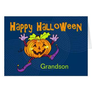 幸せなカボチャハッピーハローウィンの孫 カード