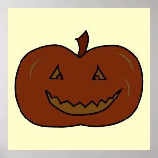 幸せなカボチャ。 暗い色。 ハロウィン ポスター