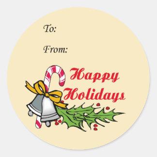 幸せなクリスマスのプレゼントのステッカー ラウンドシール