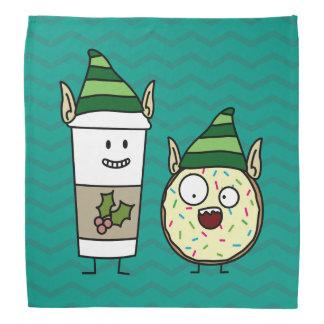 幸せなコーヒーおよびドーナツ小妖精や小人 バンダナ