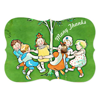 幸せなサンキューカード、木のまわりで踊っている子供 12.7 X 17.8 インビテーションカード