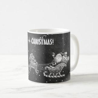 幸せなサンタのクリスマスのマグ! (black&White) コーヒーマグカップ