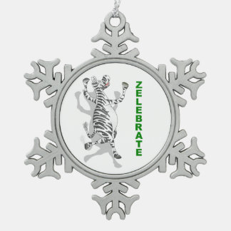 幸せなシマウマZELEBRATE スノーフレークピューターオーナメント