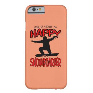幸せなスノーボーダー(黒) BARELY THERE iPhone 6 ケース