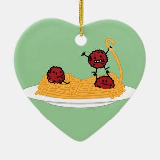 幸せなスパゲッティおよびミートボール セラミックオーナメント