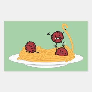 幸せなスパゲッティおよびミートボール 長方形シール