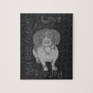 幸せなスパニエル犬のかわいいチョークのスケッチ ジグソーパズル