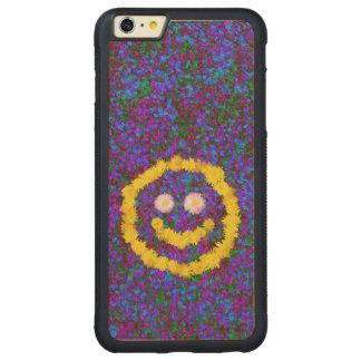 幸せなスマイリーフェイスのタンポポの花 CarvedメープルiPhone 6 PLUSバンパーケース